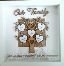 PERSONALISED FAMILY TREE, Gift 3D Box Frame, Xmas, Birthday,Wedding,Anniversary