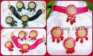 Indian Ethnic Traditional Kundan Pearl Choker Necklace Earrings Jewellery Set