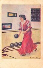 F Earl Christy~The Bowling Girl~Lady on the Alley~Ball Rack~Score~#554 1908 PC