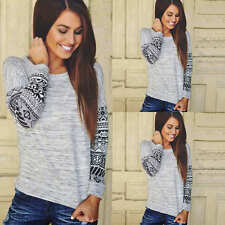 Fashion Womens Long Sleeve Shirt Casual Lace Loose Cotton Tops T Shirt Blouse