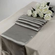 "Satin Table Runner 10 pcs 12""X108"" Wedding venue party decoration - Silver Gray"