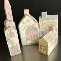 Miniature Houses Wooden Set 5 Hand Painted Pastel Colors Church Bakery Made USA