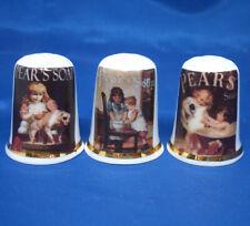 Birchcroft China Thimbles -- Set of Three - Vintage Pears Soap Adverts