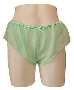 Pastel Mint Green Chiffon Sheer Micro French Knickers sexy lingerie panties