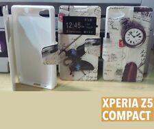 FUNDA SONY XPERIA Z5 COMPACT MINI DIBUJOS VENTANA DE LADO LIBRO CASE COVER BOOK