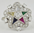 Vintage 18K White Gold .66 CTTW Diamond Eastern Star Ring w/Synthetic Gems