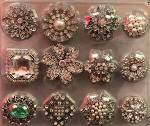 Vintage Ladies Gemstone/Rhinestone Pearl Brooch lot Value Pack Color stones 12