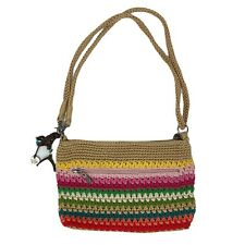The Sak Crochet Beach Stripe Demi 3-In-1 Crossbody Handbag Clutch Rainbow Vegan