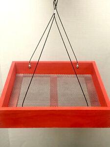 Wood Bird Feeder-Hanging Platform galvannealed metal mesh seed tray-Painted Red!