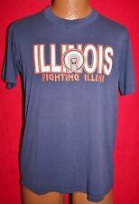 Vintage 80s ILLINOIS FIGHTING ILLINI Blue 50/50 T-SHIRT L CHIEF ILLINIWEK Vtg