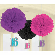3 Classic Sweet 16 16th Birthday Party Hanging Fluffy Danglers Decorations