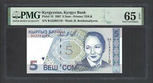 Kyrgyzstan 5 Som 1997 P13 Uncirculated Graded 65