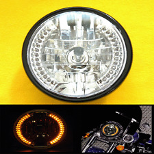 "6"" Honda Yamaha Suzuki Kawasaki Triumpth Halogen Headight Amber LED Turn Signal"