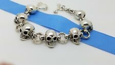 Rare Heavy 925 Sterling Silver 17'mm Biker Skull Bone Toggle Chain 8 In Bracelet