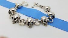 Rare Heavy 925 Sterling Silver 17'mm Biker Skull Bone Toggle Chain 8 In Bracelet