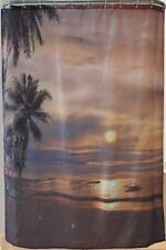 Tableau plage tropicale Nuit Lune & palmiers salle de bain douche rideau polyester