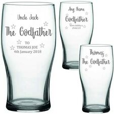 Personalised Engraved PINT GLASS THE GODFATHER/ TINKERBELL GIFTS CHRISTENING