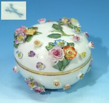 Antique Meissen Porcelain Floral Encrusted Box & Cover Painted with Insects.