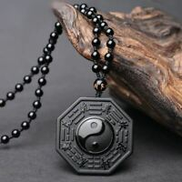 Protective Obsidian Yin And Yang Five Elements Necklace/Velvet Pouch/FREE P&P