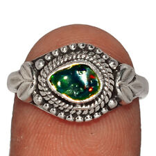 Silver Ring Jewelry s.8 Ar196968 216A Chalama Black Opal Rough 925 Sterling
