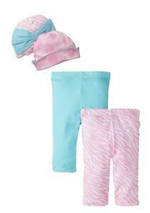 Gerber Baby-Girls Newborn Blue Zebra 4 Pack Essentials Bundle Caps Leggings Set