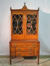 High-End Hepplewhite Secretary-Bookcase w/Inlay; Contrasting Veneers; Federal