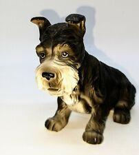 Vintage Lefton Exclusives Ceramic Schnauzer Dog Figurine Black & Gray #5595
