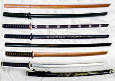 Mixed LOT of 7 Japanese Solid Oak Wood Practice Swords -- Training Katana/Bokken