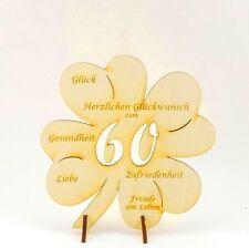 Geschenk Glückwünsche auf Kleeblatt 60 Jahre Geburtstagsgeschenk Holz 11cm