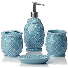4 Piece Ceramic Bath Accessory Set Bathroom Accessories Decorative Design Blue