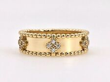 Beautiful Wide Band (6mm) 14k Yellow Gold & Cubic Zirconia Ring, New, Size 7.25