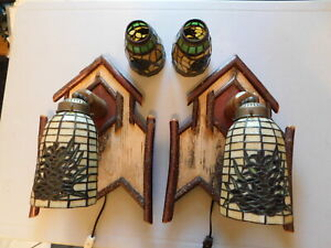 Hand made birch wood adirondack style wall sconces with stained glass shades