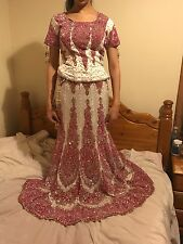 Bridal Lengha. White and hot pink lengha with full necklace set and bangles