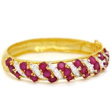 Gorgeous Thai Flower Ruby Cubic Zirconia CZ 22k 24k Yellow Gold GP Women Jewelry