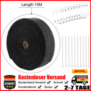 15m x 50mm Hitzeschutzband Hitzeschutz Auspuffband Krümmerband Krümmer Schwarz E