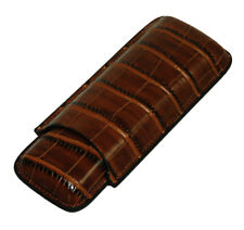 2 PIECE CHOCOLATE BROWN CROCODILE CIGAR TRAVEL CASE STORAGE MENS GIFT BOX