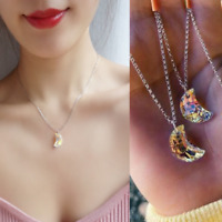 Aurora Borealis Rainbow Crystal Cresent Moon Pendant 925 Silver Necklace Jewelry