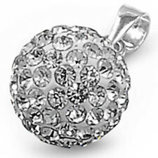 BEAUTIFUL CRYSTAL BALL .925 Sterling Silver Pendant
