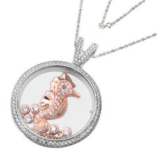 De Buman Two-tone Sterling Silver Cubic Zirconia and Crystal Sea Horse Necklace
