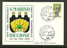 CARTOLINA RICCIONE FIERA FRANCOBOLLO 1975 FDC MARIA ANNULLO SPECIALE FIRMA CUMO