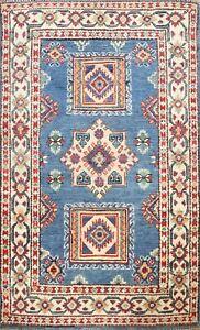 BLUE Super Kazak Vegetable Dye Oriental Area Rug Hand-knotted Tribal 3x4 Carpet