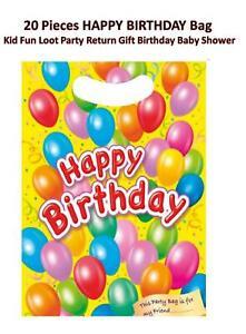 20 Pieces HAPPY BIRTHDAY Bag Kid Fun Loot Party Return Gift Birthday Baby Shower