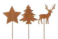 Stecker STERN BAUM HIRSCH für Beet Balkon Metall ROST Dekoration Weihnachten