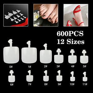 600Pcs Artificial Toe False Nail Art Tips Natural Full Foot Fake Nails Manicure