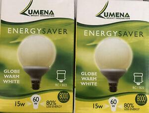 2 X LUMENA ENERGY SAVER LIGHT BULBS GLOBE WARM WHITE 15W - 60W 80% LESS ENERGY