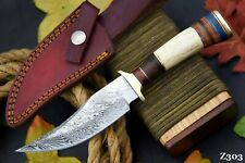 Custom Damascus Steel Hunting Knife Handmade With Stag Horn Handle (Z303)
