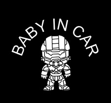 """""""Baby In Car"""" Baby Master Chief """"Halo"""" on Board Safety Sign Car Decal / Sticker"""