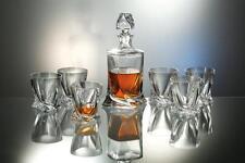 "Bohemia Whisky Set 6 Whiskey Gläser + Karaffe Blei Kristallglas ""Quadro"" Neu"