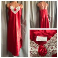 VTG 80's Red Satin Nightgown Romantic Rose Valentine SECOND SKIN Shiny Gown M