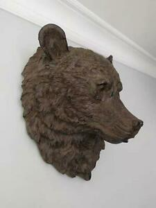 44cm Large Bear Head Wall Mounted Distressed Sculpture Aged Hanging Animal Head